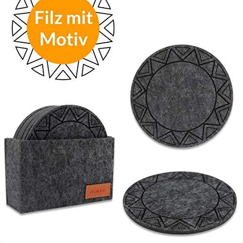 mokinu Filz Untersetzer rund für Gläser - 8er Set inkl. Box - Premium Glasuntersetzer mit Muster für Getränke, Tassen, Bar, Glas, Tisch - Tischuntersetzer anthrazit