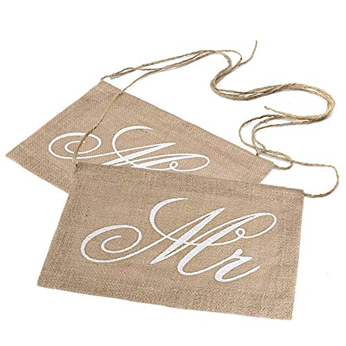 Lace Burlap Bows Mr. & Mrs Burlap Chair Banner Set Chair Sign Garland Rustic Wedding Party Decoration (Chair Banners)