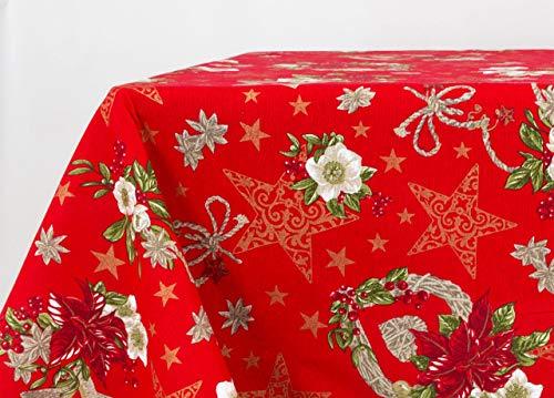 BIANCHERIAWEB Tovaglia Natalizia in Cotone Disegno Anis Colore Rosso 140x240 Rosso