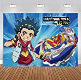 Battle Spinners Theme Backdrop Beyblade Burst Back with New Spin Custom Photo Backgrounds Boys Birthday Photography Backdrops Party Supplies Decorations 7x5ft Banner Vinyl