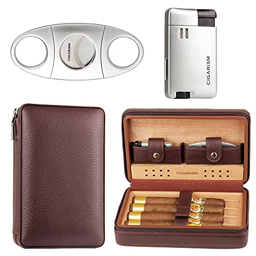 CIGARISM Leather Cedar Lined Cigar Travel Case Humidor W/Cutter Lighter Set 4 Count (Coffee)