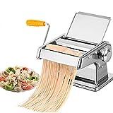 Máquina para hacer pasta y fideos, cortador de fideos, de acero inoxidable, manual para hacer pasta fresca, rodillo de masa para espaguetis y lasaña, 2 cuchillas