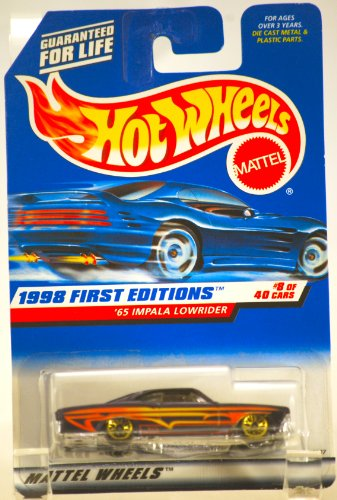 1998 - Mattel / Hot Wheels - 1965 Impala Lowrider (Purple w/Yellow Stripes) - 1998 First Editions #8 of 40 Cars - MOC - 1:64 Scale Die Cast Metal - Limited Edition - Collectible