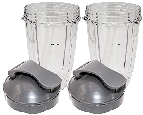 Blendin Flip Top To Go Lid with 24oz Tall Cup,Compatible with Nutribullet 600W, 900W, NB-101B, 900 Pro Series Blenders (2 Pack)