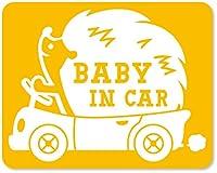 imoninn BABY in car ステッカー 【マグネットタイプ】 No.37 ハリネズミさん (黄色)