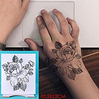 Waterproof Temporary Tattoo Sticker Rose Other Flower Tatto Flash Tatoo Hand Arm Foot Back Tato Body Art for Girl Women Men (Color : Transparent)