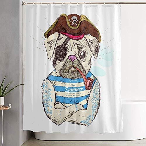 VINISATH Duschvorhang,Piraten-Mops-H& auf blauem Hintergr&,wasserdichter Badvorhang mit 12 Haken Duschvorhangringen 180x180cm