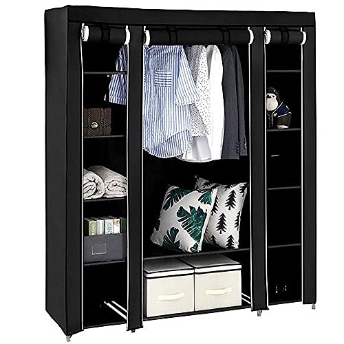 Lsooyys Canvas Wardrobe for Bedroom,Single Storage Wardrobe Closet Heavy-duty Storage Rack Drawers,Triple Open Free Standing Garment Railing ,Organizer Shelves 147x44x174cm (Black)