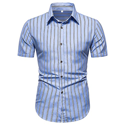 BIBOKAOKE Herren Poloshirt Kurzarm Revers Polohemd Vertikale Streifen Polo-Shirt Slim Fit Business Arbeit Hemd Basic Outdoor Freizeithemd Dünne Atmungsaktivität Golf Tennis Sportshirts