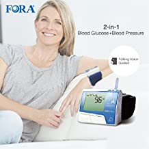 FORA D10 2-in-1 Blood Glucose and Wrist Blood Pressure Monitor, Test Strips and Lancing Sold Separately, with Talking Functions, for Diabetes and Hypertension Monitoring
