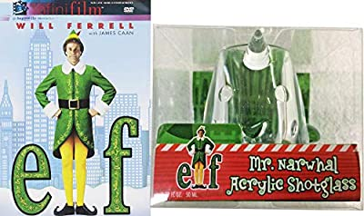 Narwhal Elves Spirited Christmas... ELF DVD Movie Will Ferrell + Mr. Narwhal Acrylic Shot Glass Buddy Santa's Elf Holiday Comedy 2-Pack
