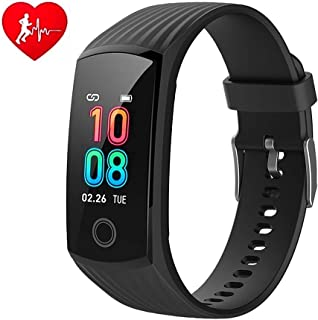 V16 Fitness Activity Tracker Smart Watch for Men Women Kids Smarwatch with Heart Rate Blood Pressure Monitor IP67 Waterproof Sports Running Pedometer Watch Smart Bracelet Compatible for Android & iOS (Black)
