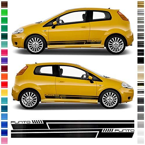 Auto-Dress® Seiten-Streifen Aufkleber Set/Dekor passend für FIAT Punto in Wunschfarbe (Farbwunsch)
