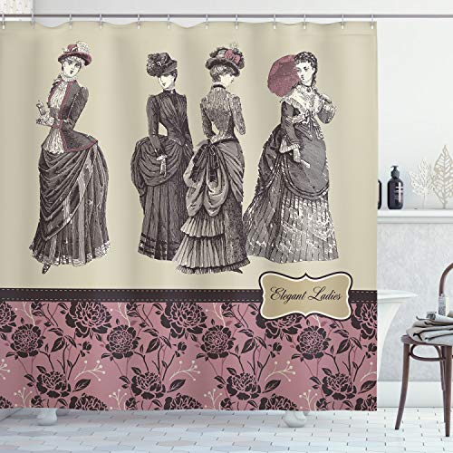 """Ambesonne Victorian Shower Curtain, Ladies Clothes Fashion History Dress Handbag Feather Gloves Floral Design Print, Cloth Fabric Bathroom Decor Set with Hooks, 84"""" Long Extra, Grey Rose"""