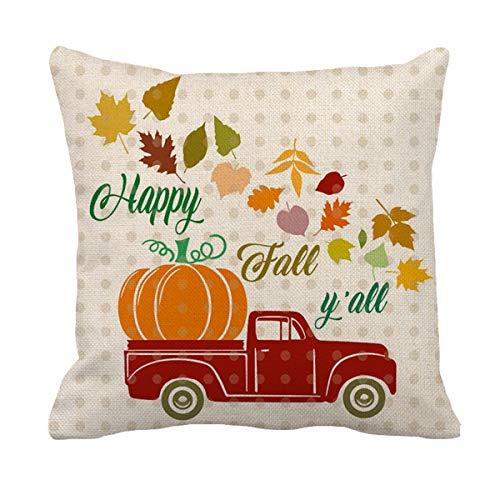 AFOKNY fundas de almohada decorativas de otoño, 18 x 18 pulgadas, para camiones, coches, calabazas, hojas de arce, decoración de cosecha de otoño, funda de almohada de lino y algodón para sofá, sala de estar