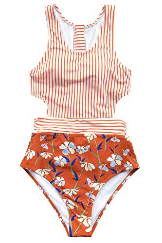 CUPSHE Damen Badeanzug mit Reißverschluss Streifen Blumenmuster Tank Top Einteilige Bademode Swimsuit Orange XL