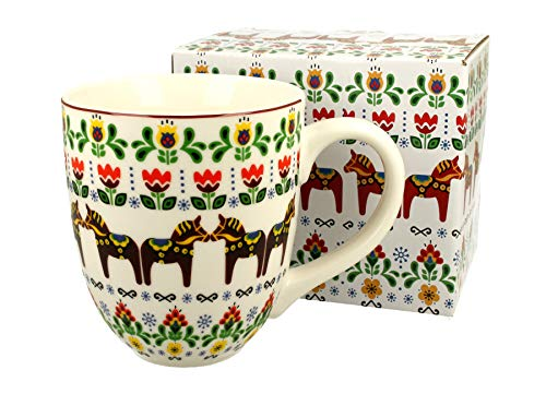 Duo Jumbotasse Becher XXL folkloristische Deko 900 ml Porzellan Trinkbecher Smoothie Becher Geschenk Büro Tasse für Kaffee Teetasse Cappuccino Kaffeebecher Jumbo-Tasse Riesentasse XXXL (Pferde)
