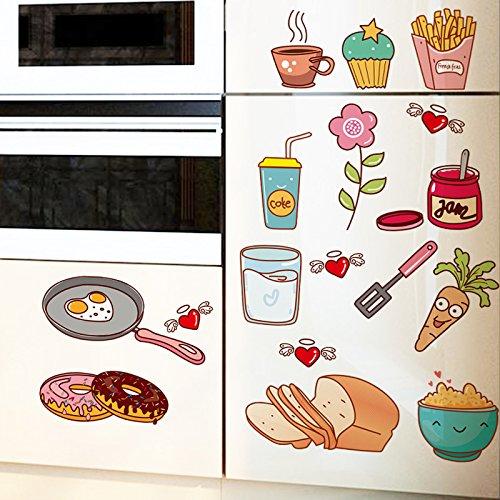 Cartoon Kühlschrank Aufkleber Küchenofen Aufkleber Wasserdichte Wand Geschirr Restaurant Essen Aufkleber Schranktür Aufkleber In Küchenaufkleber