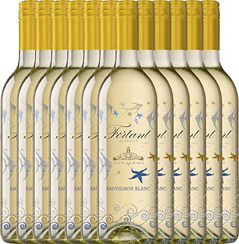 VINELLO 12er Weinpaket Weißwein - Sauvignon Blanc serigrafiert 2019 - Fortant de France mit Weinausgießer   halbtrockener Weißwein   französischer Sommerwein aus Languedoc   12 x 0,75 Liter