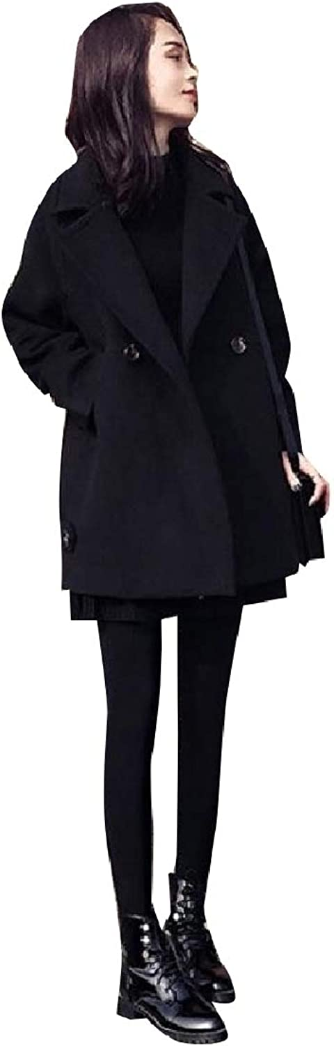 Vska Womens Baggy Double Button Parka Jackets Fall Winter Long Pea Coat