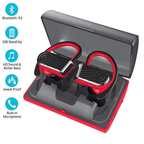 Headset EJOYDUTY TWS True in-ear oortelefoon, draadloze stereo Bluetooth sport-headsets, voor iPhone Android iOS, met microfoon en 2000 mAh powerbank oplader