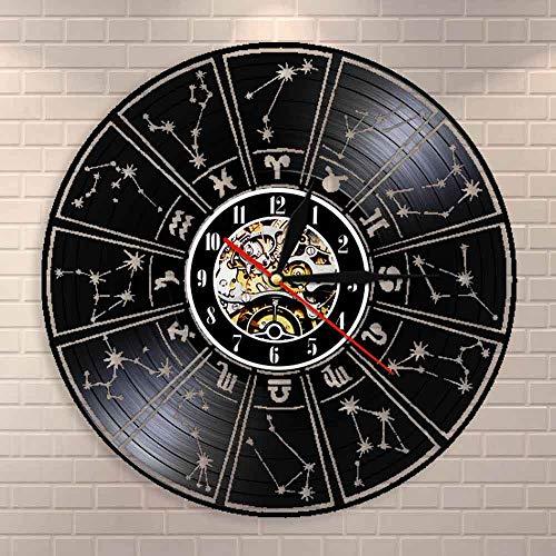 Reloj de pared de vinilo para decoración del hogar, signo del zodiaco, disco de vinilo, Astrología, estrellas, reloj de pared, reloj de pared decorativo, regalo del zodiaco