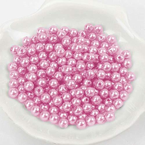 (4mm / Pink hell) Perlen/Bastelperlen - 30 Farben mit Loch zum basteln Traumfänger Wachsperlen Kreuz Zubehör Deko Mix Set groß und klein fädeln Armband Schlüsselanhänger Acryl bunt Schmuck