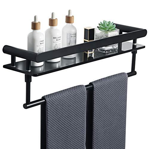 Estante de baño Sayayo 8 mm extra grueso vidrio negro templado estante con toallero montado en la pared de 50 cm, estante de ducha negro mate con barra de acero inoxidable SUS304, EGKL5000-B