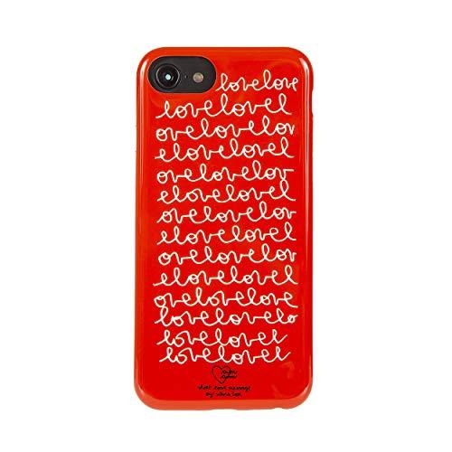 tum tum by silvia tosi Cover Custodia Compatibile con iPhone 8/7/6s/6 - Antiurto ed AntiGraffio - Grafica Bianca su Base Rossa - Protezione Frontale rialzata - Flessibile e Slim - Protezione Tasti