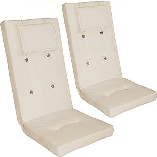 Detex Juego de 2 cojínes Crema para sillas con Respaldo y Almohadilla Asiento Extra Acolchado cómodo Set de almohadones