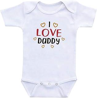 Allegorly Babybody Strampler mit Spruch für Jungen Mädchen Unisex Kurzarm Wenn ich sprechen könnte würde ich Sagen: I Love Daddy | handbedruckt | Handmade with Love