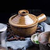 YWYW Casserole Ceramic Bowls with Handles Japanese Ceramic Casserole Terracotta Pot with Lid Heat Resistant Casserole Soup Pot Terracotta Pot Stovetop Brown Pots 13x5.2cm (5x2inch) Casserole