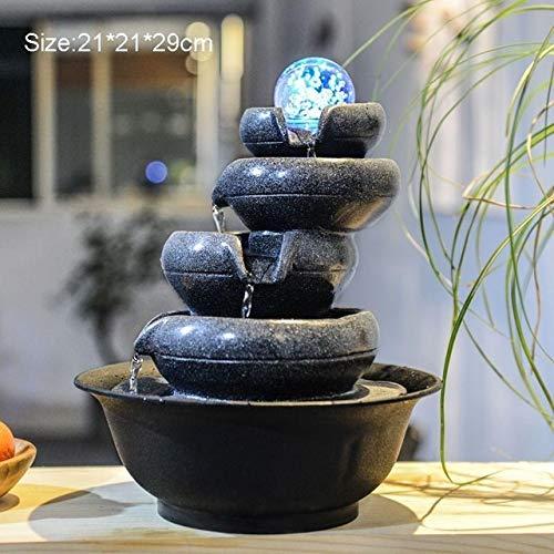 HUIJUNWENTI Crystal 110V-220V Zen Estilo rocalla Mini Fuente de luz LED de Agua de la Bola humidificador de Aire en el Feng Shui de Mesa Adornos Lucky Decoración (Color : G)