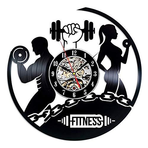 FDGFDG Fitness Gym Vinyl Rekord Wanduhr Modernes Design Bodybuilding Keine Schmerzen Kein Gewinn 3D Dekoration Vintage Uhr Wanduhr Home Decor