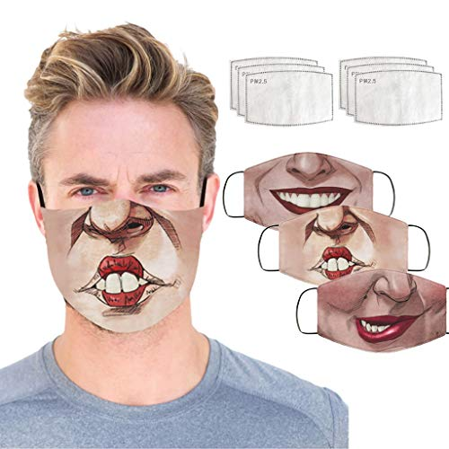 3pc Face Cover + 6pcs Filters Funny Mundschutz Multifunktionstuch Waschbar Halb...