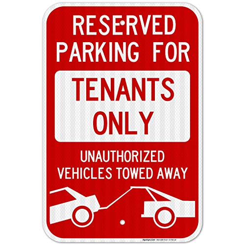 Reserved Parking Sign, Tenants Parking Only Sign, No Parking 12x18 3M Reflective (EGP) Rust Free .63 Aluminum, Easy to Mount Weather Resistant Long Lasting Ink, Made in USA by SIGO Sign