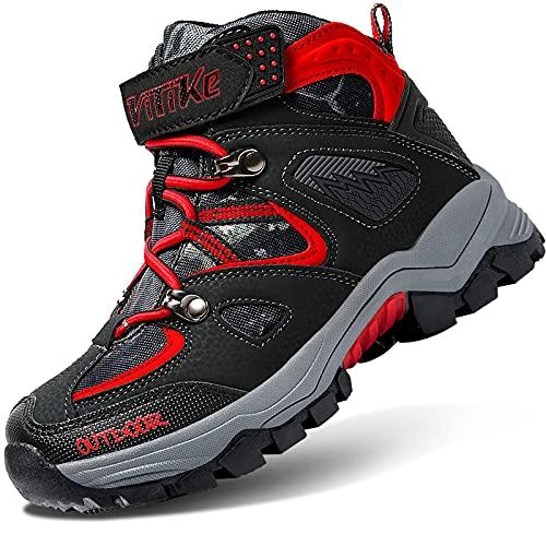 VITIKE Chaussures en Coton pour Enfants Bottes de Neige d'hiver Chaussures de randonnée Garçon Walking Trekking léger Outdoor Sporty Shoes Bottes d'escalade, 32-noir Rouge, 25 EU