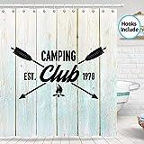 JAWO Jagd Duschvorhang, Grunge Retro Jagd Club Camping mit Pfeilen für Jagd Thema Badezimmer Duschvorhang-Sets, Stoff-Duschvorhang-Haken enthalten, 178 cm