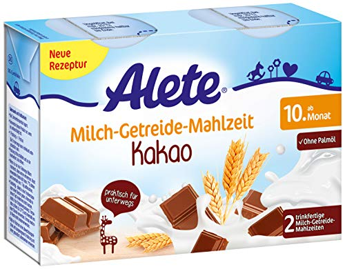 Alete Milch-Getreide-Mahlzeit Kakao, praktisch für zuhause & unterwegs, mit viel Calcium, Vitamin C & Zink, ohne Palmöl, ab dem 10. Monat, 400 ml