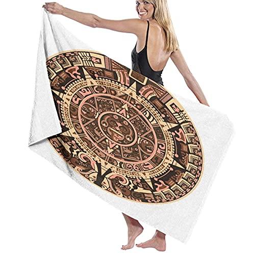 JISMUCI Toallas de Playa Grandes de Antiarena Calendario Maya de Signos y símbolos de jeroglíficos vectoriales mayas o Aztecas Toallas Baño Secado Rapido Piscina,Manta Playa,Toalla Yoga Deporte