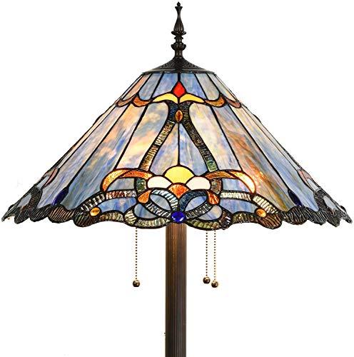 Bieye L30687 Lámpara de pie estilo Tiffany barroco con pantalla azul de 45,7 cm de ancho para lectura, dormitorio, sala de estar, 3 luces, 63 pulgadas de alto
