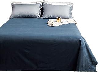 XXT Fashion stars Sábanas, sábanas dobles, sábanas, algodón lavado, cama de matrimonio de una sola pieza de algodón puro para niña nórdica, dormitorio individual, colcha de algodón (azul)