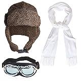 Haichen Aviator Costume Kit Gorra de Aviador con Orejeras con Hebilla, Bufanda Blanca, Gafas de Estilo piloto Vintage (marrón)