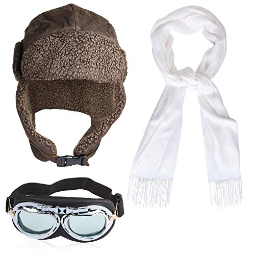 Beefunny Pilot Hat Set 1940S Grandpa Style Pilot Hat Pilot Goggles Scarf Fancy Dress Accessory Set 40'S Wartime Pilot Helmet Flying Helmet Great Escape Adult Costume Set