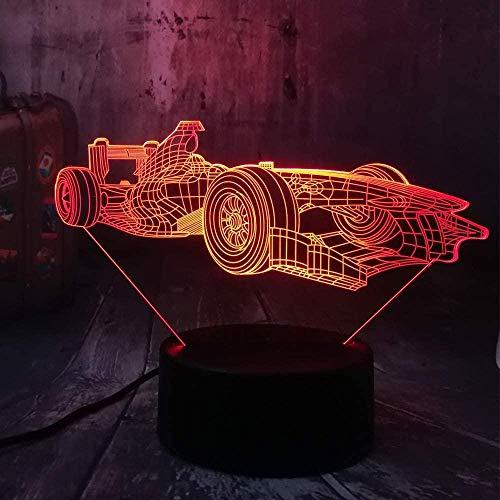 Luz nocturna 3D con fórmula de coche, lámpara de ilusión LED con mando a distancia, 7 colores cambiantes, con carga USB, regalo para niños, niñas, cumpleaños, dormitorio, decoración de mesita de noche