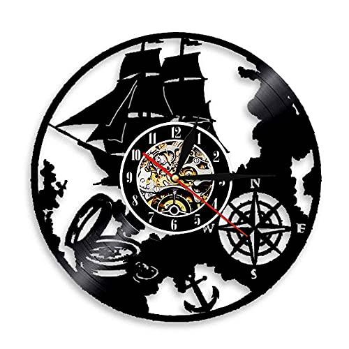 GVSPMOND Reloj de Pared con Disco de Vinilo con Tema náutico de Vela, Reloj Art Deco de Pared Retro, Reloj de Muelle Moderno, Regalo de Marinero