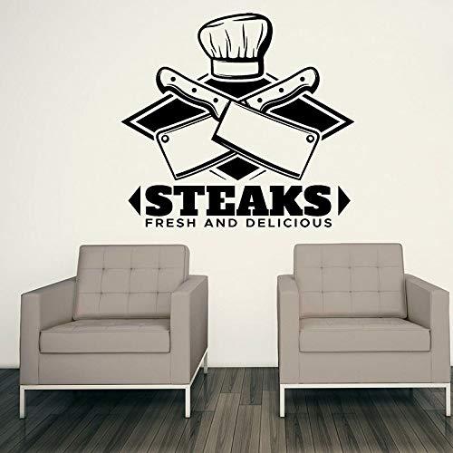 Logo tatuajes de pared bistec carne fresca y deliciosa puertas y ventanas pegatinas de vinilo mejor restaurante de carne cocina decoración de interiores papel tapiz