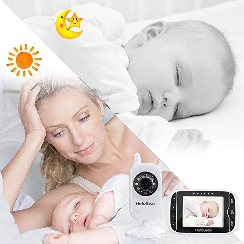 HelloBaby HB32 Monitor Inalámbrico de Vídeo con Cámara Digital, Vigilancia de la Temperatura de Visión Nocturnay 2 Way Talkback System