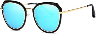 Women Classic Fashion Vintage Round Frame Outdoor Glasses UV Protection Polarized TAC Sunglasses for (Color : E Blue, Size : Free)