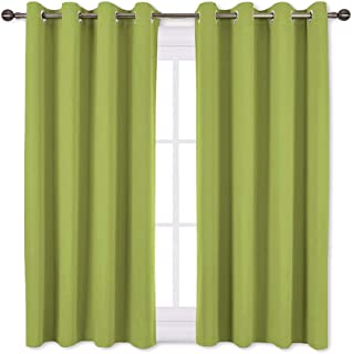 NICETOWN Green Blackout Curtains for Windows - Home Decor Thermal Insulated Solid Grommet Top Blackout Curtains/Panels/Drapes for Kid's Room (1 Pair, 52 x 45 inches in Fresh Green)